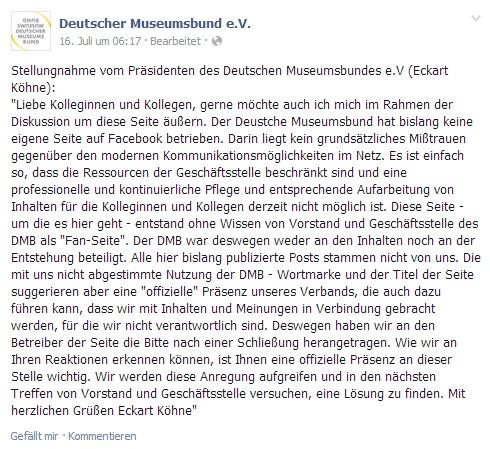Screenshot vom 25.07.2014 der Seite facebook.com/DeutscherMuseumsbund
