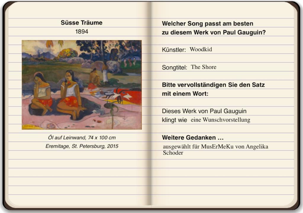 In einem virtuellen Notizbuch stellt man seine #GauguinSounds Playlist zusammen (Foto: Angelika Schoder)