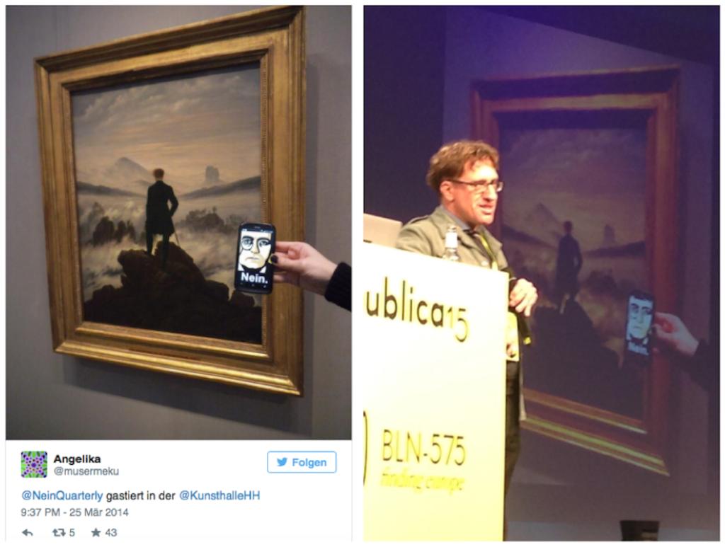 Tweet vom MusErMeKu-Team aus der Hamburger Kunsthalle (li.) und Eric Jarosinski bei seinem Vortrag im Rahmen der re:publica 15 - mit dem MusErMeKu-Bild (Foto links: Angelika Schoder und Damián Morán Dauchez / rechts: Angelika Schoder)