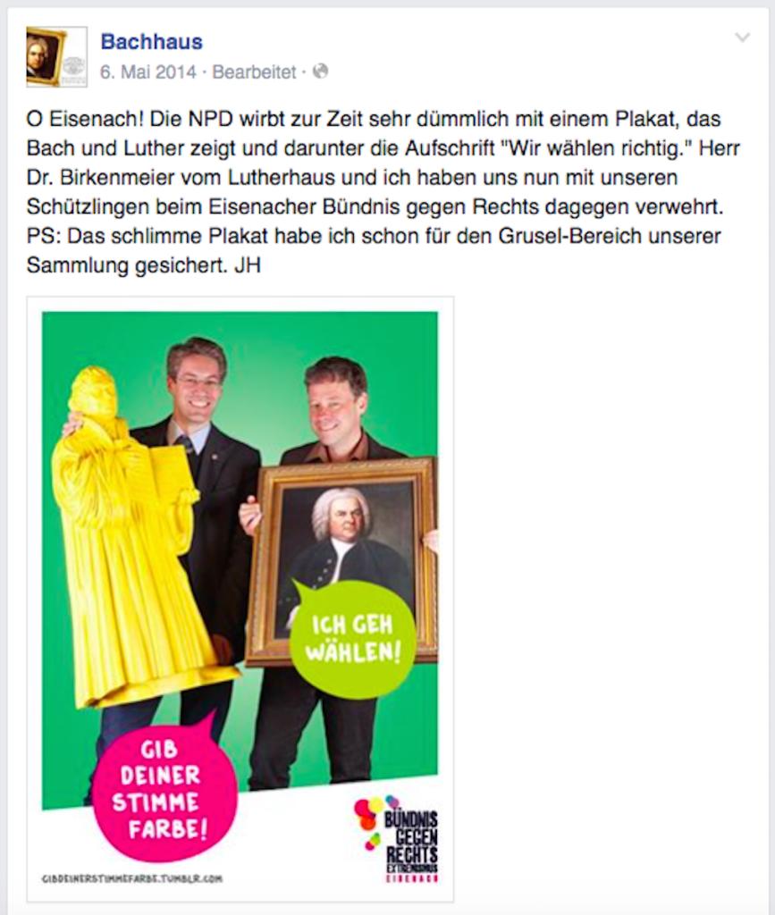 Der Facebook-Post des Bachhauses vom 6. Mai 2014 stieß nicht nur auf positive Reaktionen (Screenshot vom 04.06.2015)