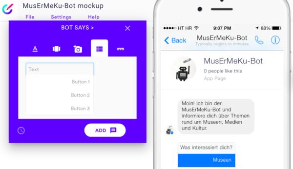 Screenshot: Botsociety, MusErMeKu-Bot MockUp - Inhaltselemente des Bot-Dialogs
