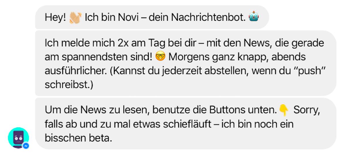 Novi-Bot bei Facebook