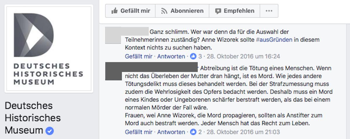 Screenshot Deutsches Historisches Museum - Facebook