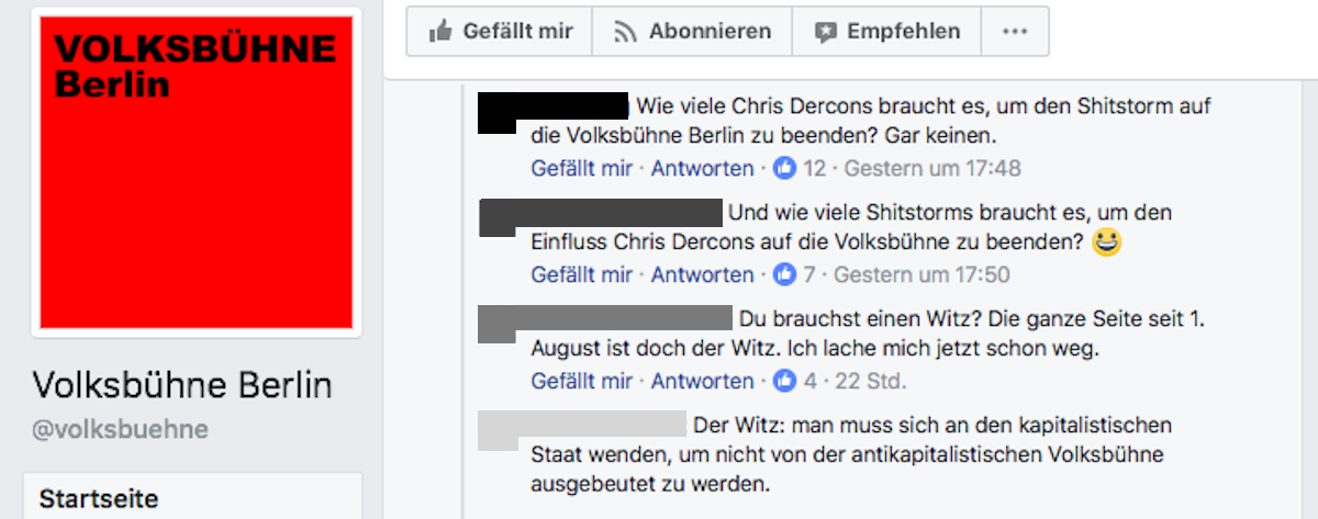 Screenshot Volksbühne Berlin - Facebook