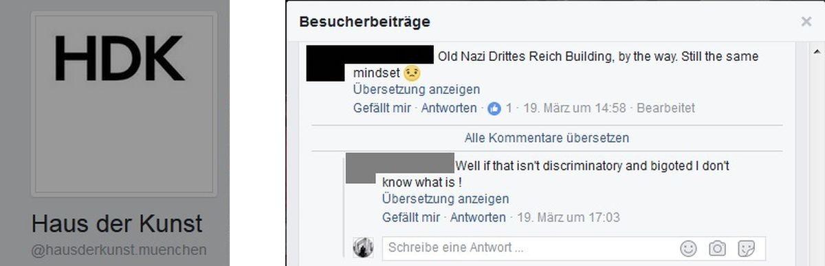 Screenshot Haus der Kunst - Facebook
