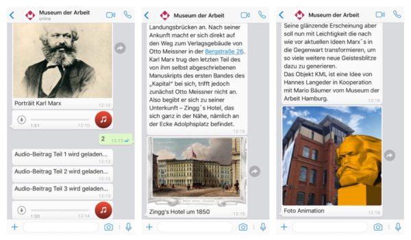 """Ob Audio-Dateien, Texte oder Bilder - per WhatsApp kann der Besucher sich in der Ausstellung näher informieren (Screenshot zum ChatBot """"Das Kapital"""" im Museum der Arbeit Hamburg)"""