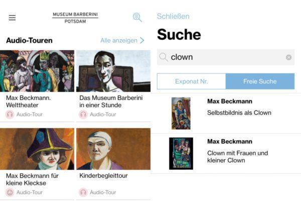 """Screenshot: Museum Barberini App zu """"Max Beckmann. Welttheater"""" (24.02. - 10.06.2018)"""