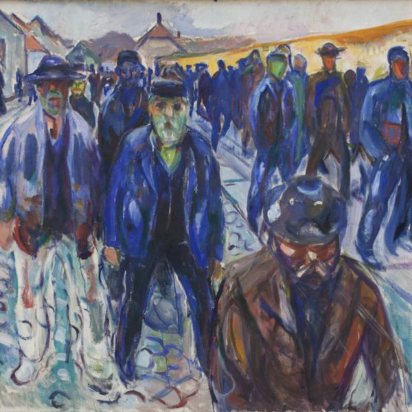 Detail aus: Edvard Munch: Hjemvendende arbejdere (1914) – Statens Museum for Kunst, via Europeana – Public Domain