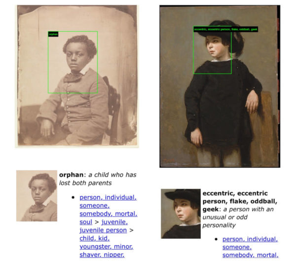 """Zwei Kinder-Portraits, über die historisch fast nichts bekannt ist. Dennoch wurde dem Schwarzen Jungen das Attribut """"Waisenkind"""" zugeordnet, während das andere Kind von der AI hinter ImageNet Roulette als """"exzentrisch"""" kategorisiert wurde."""