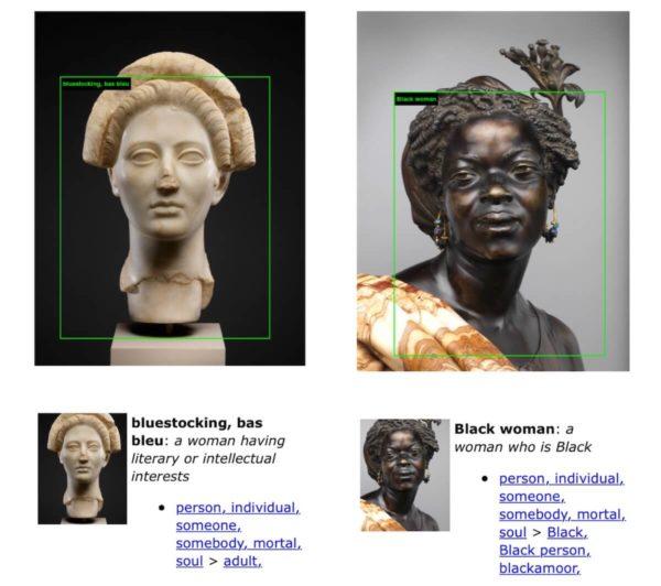 """Bei ImageNet Roulette wird die römische Statue als """"eine Frau mit literarischen Interessen"""" eingestuft, während die Büste der Schwarzen Frau einfach als """"Schwarze Frau"""" bezeichnet wird."""
