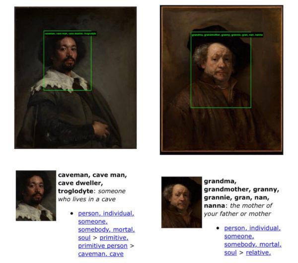 """Der spanische Künstler Velázquez portraitierte seinen Assistenten Juan de Pareja während eines Aufenthalts in Rom. Nachdem Pareja 1654 aus der Sklaverei entlassen wurde, arbeitete er als Maler in Madrid. Die AI hinter ImageNet Roulette hält ihn jedoch für einen """"Höhlenmenschen"""". Trotz ähnlicher Körperhaltung und Gesichtsausdruck wird das Selbstportrait von Rembrandt hingegen als """"Großmutter"""" kategorisiert."""