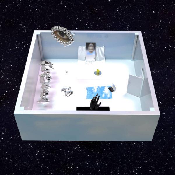"""Der Ausstellungsraum, in dem """"iSOLATION. is it over yet?"""" gezeigt wird, scheint im Weltraum zu schweben"""