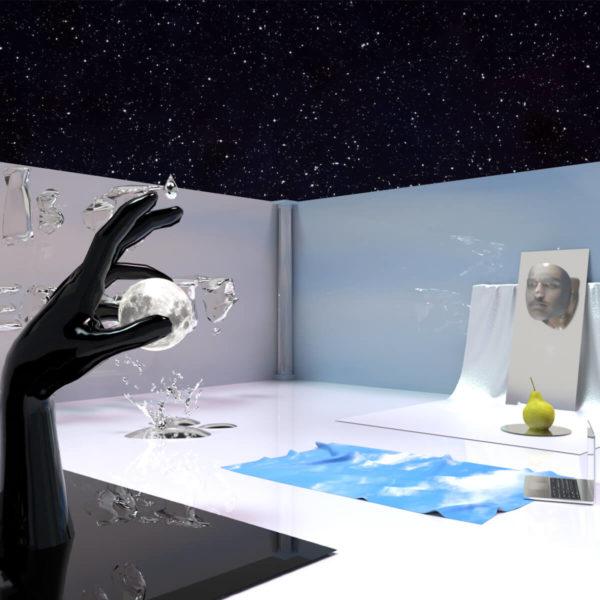Die Skulpturen und Installationen von Andy Picci erinnern an Werke des Surrealismus. Das Strandtuch und der Bildschirm des Laptop verweisen auf René Magritte (1898-1967)