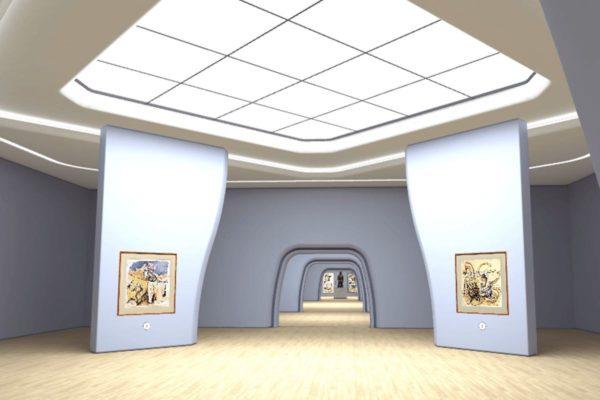 """Die meisten Ausstellungen in der Digitalen Kunsthalle werden in generischen virtuellen Museumsräumen gezeigt. (Screenshot der Ausstellung """"Max Beckmann: weiblich-männlich"""" - Hamburger Kunsthalle / Digitale Kunsthalle von ZDF Kultur)"""