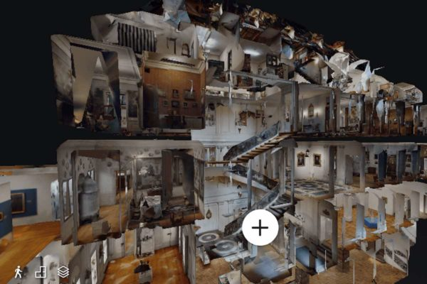 Innerhalb eines 3D-Modells des Haus zum Kirschgarten kann man sich bei seinem virtuellen Rundgang orientieren. (Screenshot des 360-Grad-Rundgangs im Haus zum Kirschgarten - Historische Museen Basel)