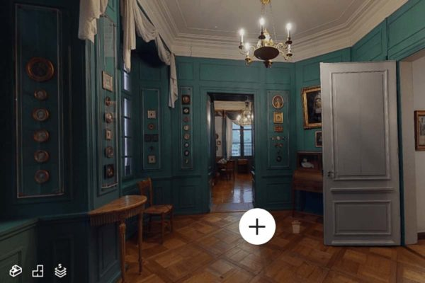 Als virtueller Besucher kann man alle historischen Räume des Museums erkunden, vom Gewölbekeller bis unters Dach. (Screenshot des 360-Grad-Rundgangs im Haus zum Kirschgarten - Historische Museen Basel)