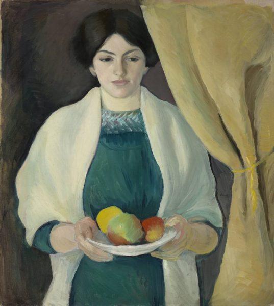 August Macke: Porträt mit Äpfeln (Gemälde, 1909) - Städtische Galerie im Lenbachhaus und Kunstbau München