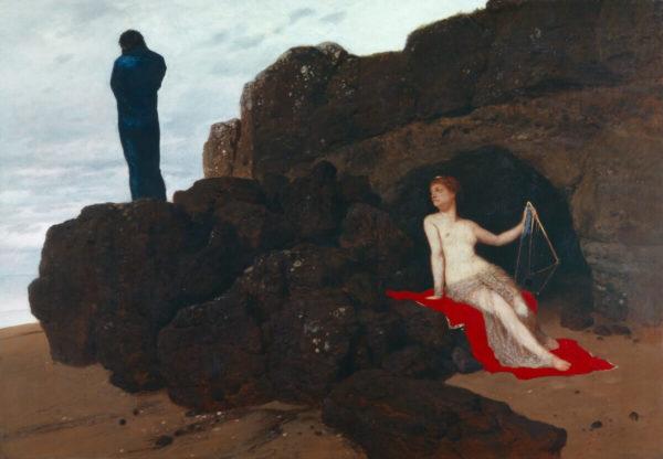 """Giorgio de Chirico ließ sich für sein Bild """"Das Rätsel des Orakels"""" (1909) von Arnold Böcklins """"Odysseus und Kalypso"""" von 1882 inspirieren."""